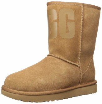 UGG Women's Classic Short Rubber Logo Fashion Boot