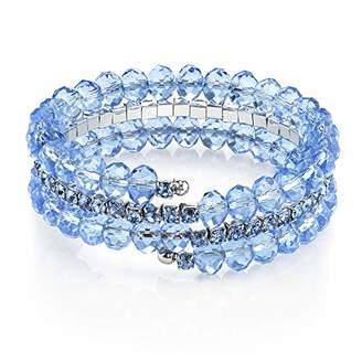 "1928 Jewelry Pastel Bracelets"" Silver Tone Blue Coil Wrap Bracelet"