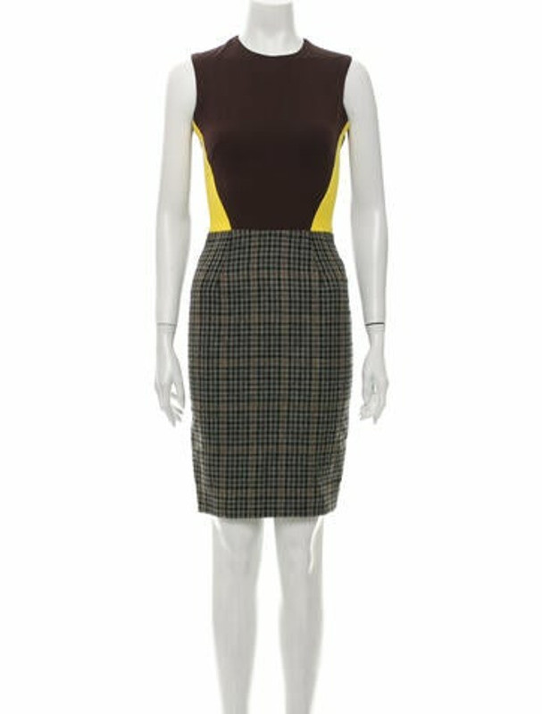 Thumbnail for your product : Victoria Beckham Plaid Print Knee-Length Dress Brown