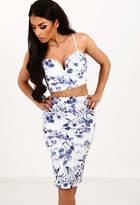Pink Boutique Va Va Voom Blue and White Floral Print V Front Crop Top