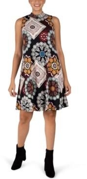 Robbie Bee Sleeveless Printed Trapeze Dress