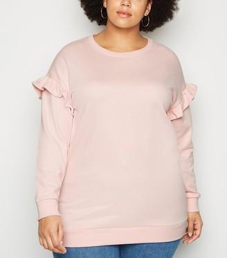New Look Curves Frill Sleeve Sweatshirt