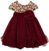 Rare Editions Metallic-Crochet Ruffle Dress, Baby Girls (0-24 months)