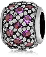 Lovelinks 925 Sterling Silver Pink Cubic Zirconia Criss Cross Lined Bead