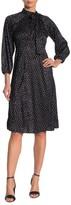 Calvin Klein Jacquard Dot Tie Neck Dress