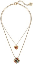 Betsey Johnson Heart & Mixed Stone Ball Double Pendant Necklace