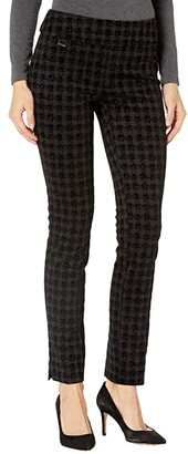 Lisette L Montreal Cornwall Check Tonal Flocking Slim Pants (Black) Women's Casual Pants