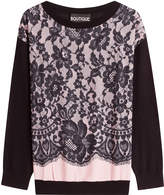 Moschino Virgin Wool Pullover with Lace Overlay