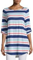 Splendid Striped Tunic with Button-Tab Sleeves, Multicolor