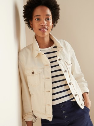 Old Navy Cropped Off-White Jean Jacket for Women