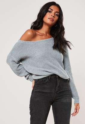 Missguided Grey Off Shoulder Knitted Jumper