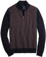 Brooks Brothers Cashmere Large Houndstooth Half-Zip Mockneck Sweater