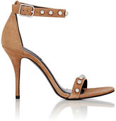 Alexander Wang Women's Antonia Studded Suede Ankle-Strap Sandals-TAN, WHITE