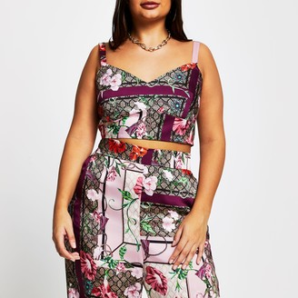 River Island Womens Plus Pink sleeveless floral bralet top
