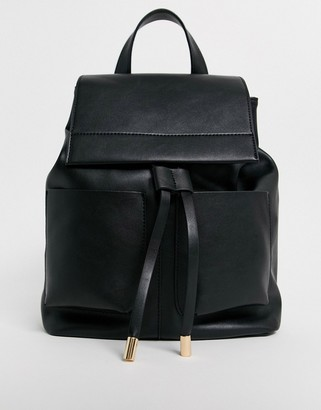 Asos Design DESIGN slouchy backpack with oversized pockets-Black