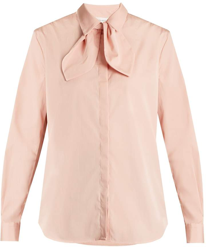 Isa Arfen Bow detail cotton-poplin shirt