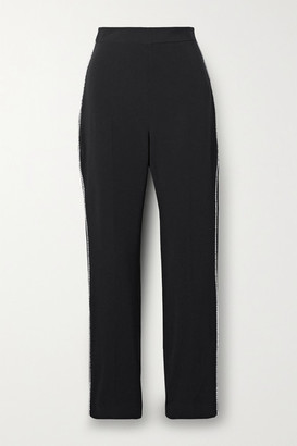 David Koma Crystal-embellished Crepe Tapered Pants
