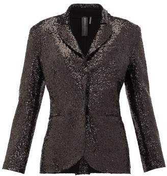 Norma Kamali Single-breasted Sequinned Jersey Blazer - Womens - Black