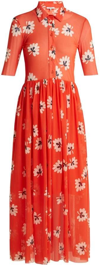 Ganni Tilden floral-print mesh shirt dress