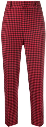 RED Valentino Check-Pattern Cropped Trousers
