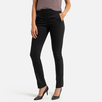"""Anne Weyburn Stretch Straight Trousers in Cotton Mix, Length 30.5"""""""