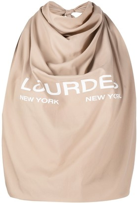 Lourdes Logo Print Halterneck Cropped Top