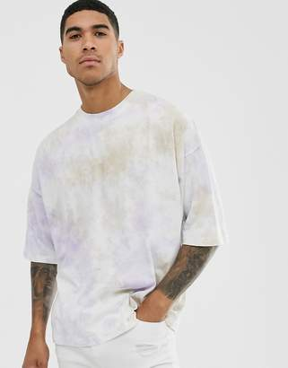 Asos Design DESIGN oversized t-shirt with half sleeve in pastel tie dye wash-Multi