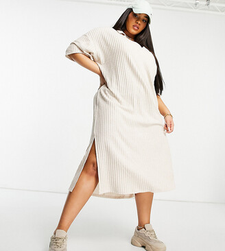 ASOS DESIGN Curve ribbed midi v neck dress with collar in cream