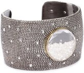 "Moritz Glik Kaleidescope"" Oxidized Sterling Silver, 18k Yellow Gold, Diamond, and Created Sapphire Cuff Bracelet"