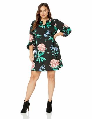 Junarose Women's Plus Size Paliva Long Sleeve Swing Above Knee Dress