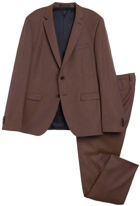 BOSS Reymond Medium Brown Two Button Notch Lapel Wool Suit