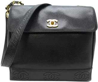 Chanel Black Cavira Leather Vintage Shoulder Bag