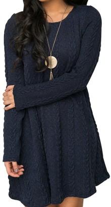 EMMA Women's Casual Scoop Neck Long Sleeve Crochet Knitted Tunic Sweater Dress Basic Slim Coarse Knit Chunky Comfort Swing Jumper Top One-Piece Dress Plus Size(BW