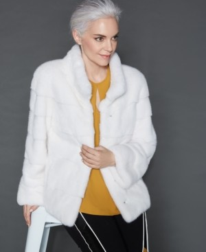 The Fur Vault Stand-Collar Mink Fur Jacket