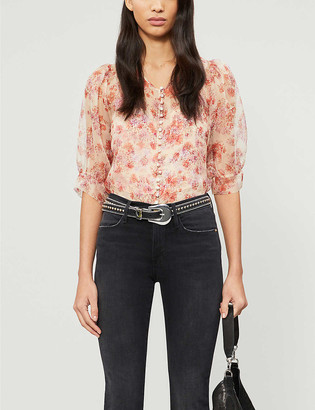 The Kooples Sheer floral silk top