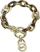 Michael Kors Gold-Tone Tortoise Acetate Link Toggle Bracelet