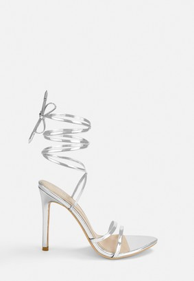 Missguided Silver Lace Up Barely There Heels
