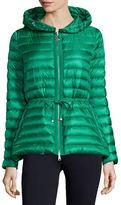 Moncler Raie Hooded Puffer Jacket, Emerald