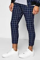 Boohoo Mens Windowpane Check Cropped Tailored Trousers