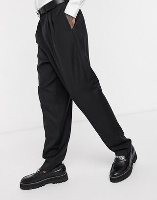 ASOS EDITION smart 100% wool high waist trouser in black