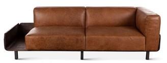 """Williston Forge Gunter Genuine Leather 89.5"""" Tuxedo Arm Sofa"""