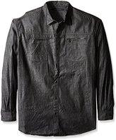 Sean John Men's Big and Tall Raw Black Denim Button up Shirt