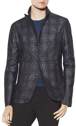 John Varvatos Collection Plaid Slim Fit Peak Lapel Jacket