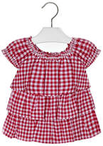 Mayoral Girls Red-Gingham Ruffle-Blouse