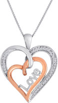 JCPenney FINE JEWELRY 1/10CTTW Two Tone Sterling Silver And 14K Rose Gold Over Silver Diamond Heart Love Pendant