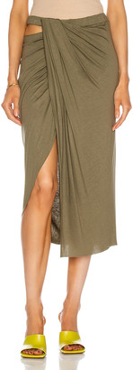 Helmut Lang Ruched Jersey Skirt in Naval Green | FWRD