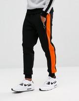 Hype Skinny Joggers In Black With Orange Stripe