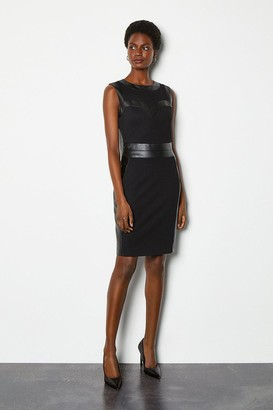 Karen Millen Faux Leather Bust Panel Pencil Dress