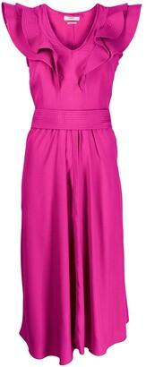 Etoile Isabel Marant Ruffle Trimmed V-Neck Dress