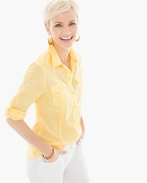 Chico's Cotton Voile Shirt in Daffodil